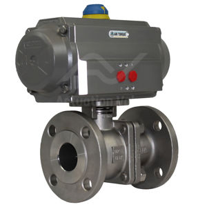 High Pressure SS Pneumatic Air Actuated Water Ball Valve FB Flanged
